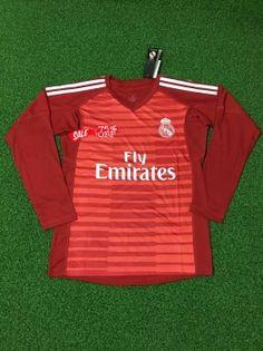 f9641698641 2018-19 Cheap Goalie Jersey Real Madrid Red LS Replica Soccer Shirt [DFC133]