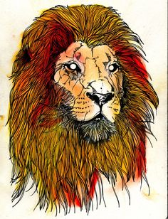 Watercolour lion head with geometric line ink