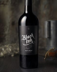 Black Ink Wine Label & Package Design by CF Napa Brand Design Malbec Wine, Wine Safari, Wine Country Gift Baskets, Wine Logo, Wine Label Design, Alcohol Bottles, Wine Packaging, Packaging Design, Wine Brands