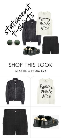 """""""statement t-shirts"""" by zsugabubus ❤ liked on Polyvore featuring Yves Saint Laurent, 5 Preview, Marc by Marc Jacobs and Dolce&Gabbana"""