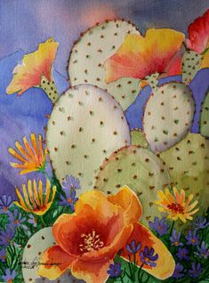 Prickly pear cactus flower watercolor painting by Barbara Ann Spencer Jump