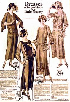 "1923 ad, ""Dresses of Unusual Charm for so Little Money""."
