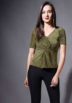67b2c082cdf61 Gold Lurex Knotted Top -