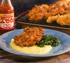 Fried Chicken Thighs and Cheesy Grits with Green Onions