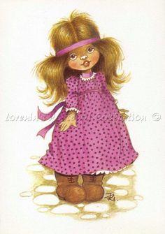 Füzei Zsuzsa képeslap - gyerekkori kedvenc, nagymamától kaptunk ilyen képeslapot - és egy gyerekkori zsúrnak a meghívója is Füzesi Zsuzsa rajzával készült - régi szép emlékek