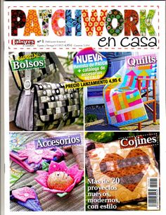 Patchwork and quilting. Japanese Patchwork, Patchwork Bags, Book Crafts, Paper Crafts, Craft Books, Magazine Couture, Crafts To Make, Diy Crafts, Sewing Magazines