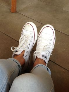 Witte All stars, converse, jeans, dames sneakers,