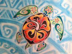 sea turtle hawaiin painting -
