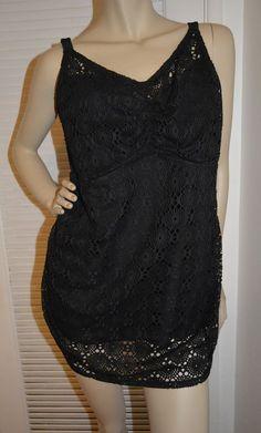 AVA VIV Swim Wear Bikini Top Black Lace Crochet Detail Boho Cute Size 16W NEW #AVAVIV #tankiniswimtop