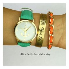 "Aqua/Mint anchor watch and ""live your life"" bacelet"