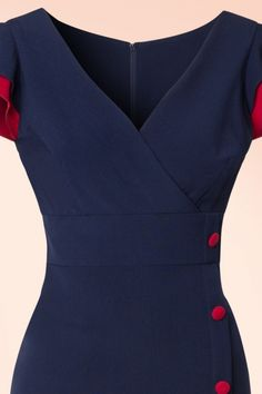 Honor Pencil Dress in Navy and Red Fancy Blouse Designs, Dress Neck Designs, Dresses For Teens, Nice Dresses, Stop Staring Dresses, Modele Hijab, Stunning Brunette, Formal Tops, Red Pencil