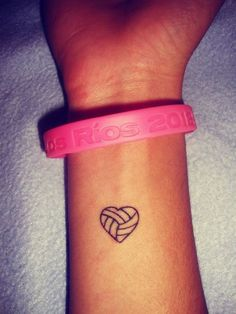 volleyball in heart! Except tennis ball somehow? small wrist tattoo