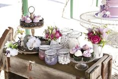 rustic sweet table in pink and purple