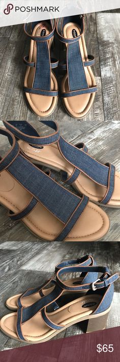 efacc3b02da8 Dr Scholls True Comfort Jeans Platform sandals Like NEW. Dr Scholls jeans  leather True comfort platform Color  Blue Jeans w  tan leather Size  7 Dr.