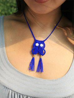 Royal Blue Macrame Owl Adjustable Necklace by youyou965 on Etsy