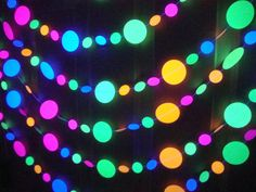 Neon garlands for black light party 6-foot strands by BethsCardCreations on Etsy https://www.etsy.com/listing/184250453/neon-garlands-for-black-light-party-6