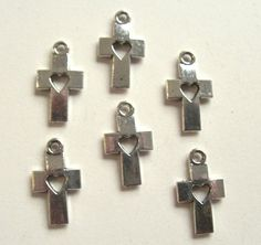 Cross & Heart Charms, Jewelry, Pendant, Religious, Antique Silver Tone, Set of 6    * ( 6 ) Charms  * Size: 18mm  * Antique Silver Tone  * Lead