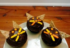 Halloween has never been my favorite holiday. I don't think I've dressed up since I was in middle-school, and I certainly don't like those horror flicks that disappear from every movie-rental store during the days of October. Cat Cupcakes, Halloween Cupcakes, Favorite Holiday, Cats, School Ideas, Desserts, Recipes, Food, Breakfast