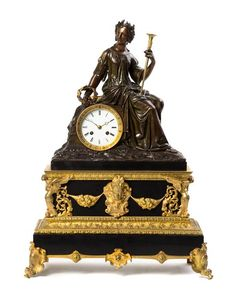 A Napoleon III Gilt and Patinated Bronze Figural Mantel Clock, Height 23 in
