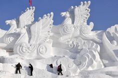The month-long Harbin Ice and Snow Festival, one of the world's largest, attracts about 800,000 visitors each year.  Harbin is located in the northeast province of Heilongjiang, where temperatures often drop to -4°F.  Fairy tale palaces, towering pagodas and skyscrapers — all carved from ice — are among the sights. The sculptures and buildings are built from ice blocks cut from the frozen surface of the nearby Songhua river.