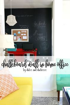 Create a focal wall and a useful spot by painting a DIY chalkboard wall in the home office or study! It's a great way to make a space pop! Summer Chalkboard, Diy Chalkboard, Diy Home Decor Bedroom, Focal Wall, Home Projects, Home Office, Home Goods, Home Improvement, Decor Ideas