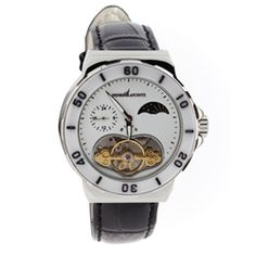 Henri LaPointe ladies automatic watch in stainless steel with white ceramic. Black padded leather band with locking fold over clasp and white dial with a heart shaped window all add a feminine touch to this classic time piece. Our Price: $199.00