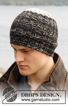 "Limestone - Knitted DROPS hat in rib in ""Fabel"" and ""Alpaca"". - Free pattern by DROPS Design"