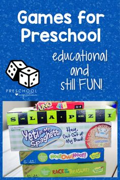 Games for preschool that teach necessary skills and are still super fun! Preschoolers won't even know they're learning as they develop fine motor skills, creativity, early math skills, social/emotional growth, and gross motor skills! Preschool Board Games, Preschool At Home, Preschool Math, Kindergarten Activities, Infant Activities, Learning Activities, Kids Learning, Gross Motor, Fine Motor