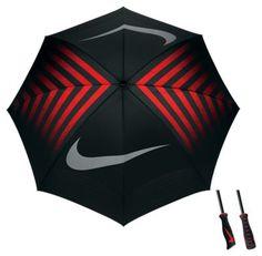 "Nike 62"" WindSheer Double Canopy Golf Umbrella - Black/Silver/Max Orange"