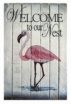 Coastal Wall Art - Pink Flamingo Welcome Sign - Nautical Wooden Slat Wall Sign