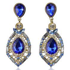 Zölestine - Rhinestone Crystal Water Drop Earrings