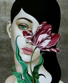 """Slava Fokk-""""Lonely Tulip"""" oil on canvas/silver leaf 2018 Art And Illustration, Images D'art, Art Visage, L'art Du Portrait, Russian Art, Surreal Art, Face Art, Canvas Art Prints, Art Pictures"""