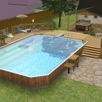 Incomparable Paver Wall Around Above Ground Pool With Faux