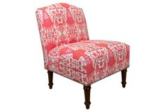 Idea for the 4 living room chairs -  Clark Nail-Trim Slipper Chair, Red Ikat