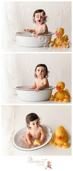 Bathtub and rubber ducky portraits during first birthday milestone portrait session photographed by Massart Photography, a Rhode Island newborn, family and wedding photographer. | www.massartphotography.com; info@massartphotography.com