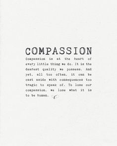 Art Print 8x10 - Compassion - Inspirational, motivational word art on Etsy, $18.00