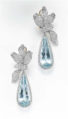 Aquamarine and diamond earrings - tiffany- my birthstone TOO GORGEOUS