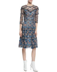 Round-Neck+3/4-Sleeve+Floral-Lace+Cocktail+Dress+by+Prabal+Gurung+at+Neiman+Marcus.
