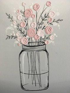 Mason Jar Flower Art Pink and Gray Textured Acrylic Artwork, # Acrylic Ma. - Mason Jar Flower Art Pink and Gray Textured Acrylic Artwork, # Acrylic Mason Jar Flower Art P - Acrylic Artwork, Acrylic Painting Canvas, 3 Canvas Painting Ideas, Texture Painting On Canvas, Canvas Ideas, Acrylic Paintings, Art Floral, Diy Canvas, Canvas Art