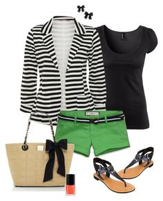 """""""Summer stripes"""" by alysia123 ❤ liked on Polyvore featuring H&M, A