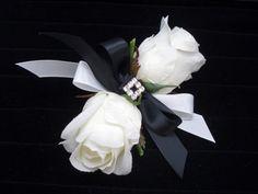 White Rose Corsage Black Ribbon Silk Wedding by FlowersForThought Rose Bridal Bouquet, Flower Corsage, Bride Bouquets, Hydrangea Boutonniere, White Rose Boutonniere, Boutonnieres, Elegant Wedding, Floral Wedding, Wedding Flowers