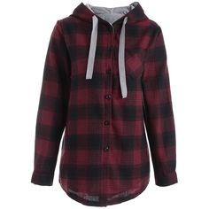 Button Up Pocket Plaid Plus Size Hoodie ($24) ❤ liked on Polyvore featuring tops, hoodies, rosegal, plus size womens hoodie, plus size hoodie, purple hooded sweatshirt, womens plus hoodies and sweatshirt hoodies