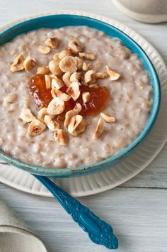 Brown Rice Breakfast Pudding - short grain brown rice cooked slowly in almond milk sweetened with a touch of brown sugar and infused with vanilla bean and cinnamon.