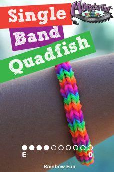 How to make a Single Band Quadfish Bracelet on a Monster Tail Loom|Monster Tail bracelet patterns
