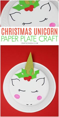 A cute paper plate crafts perfect for Christmas Unicorn Paper Plates, Paper Plate Animals, Dinosaur Crafts, Unicorn Crafts, Christmas Paper Plates, Christmas Crafts For Kids, Easy Crafts For Kids, Fun Crafts, Ocean Crafts