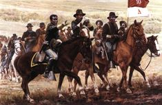 "On September 21, 1866 the US Army 10th Cavalry was formed at Ft. Leavenworth KS. Along with the 9th Cavalry and the 24th and 25th Infantry Regiments it soon became known as the ""Buffalo Soldiers"". Although several African American regiments were raised during the Civil War to fight alongside the Union Army,  the ""Buffalo Soldiers"" were established by Congress as the first peacetime all-black regiments in the regular US Army. #TodayInBlackHistory"