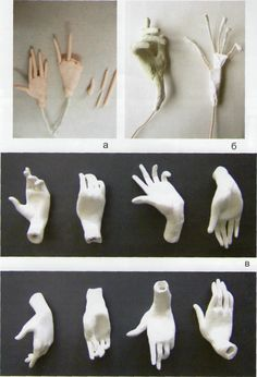 hands to the fairies and other dolls STEP 1 - make 5 rolls of clay, lay on chart, start with 3 f Polymer Clay Figures, Polymer Clay Sculptures, Polymer Clay Dolls, Sculpture Clay, Polymer Clay Crafts, Sculpting Tutorials, Doll Making Tutorials, Sculptures Sur Fil, Pottery Sculpture