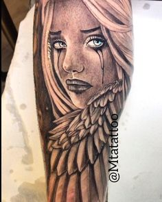 Angel girl tattoo by mta mtatattoo - hübsche Tätowierungen Cool Arm Tattoos, Upper Arm Tattoos, Tribal Sleeve Tattoos, Japanese Sleeve Tattoos, Pretty Tattoos, Unique Tattoos, Leg Tattoos, Body Art Tattoos, Tattoo Chicana