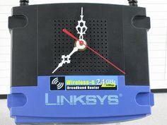 Handmade Upcycled Desk Clock LINKSYS Wireless G 2.4 GHz Broadband Router , via Etsy.