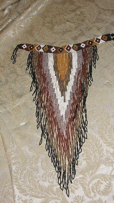 Glass Beaded Bib Neck to Waist Fringe Necklace - Free Shipping
